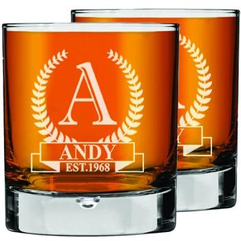 2 gab. Gravētas personalizētas viskija glāzes komplekts, Bāra Piederumi Stikla Trauki Viskija glāze 270ml