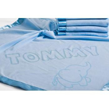 Personalizēta bērnu sega bērnu gultiņai vai ratiņiem ar vārdu un pēdu dizainu, izmērs 75x75cm, satīna apdare