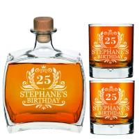 Dzimšanas dienas dāvana viņam Personalizēta viskija dekanteris 750ml ar 2 viskija glāzēm