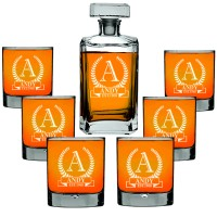 Custom Engraved Personalised Decanter 700ml with 6 Whiskey Glasses 270ml