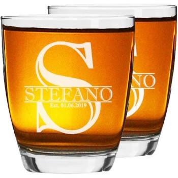 40. dzimšanas dienas dāvana vīriešiem 2 gab. Personalizēta gravēta viskija glāze, Low Ball Glass, burbona glāze 390ml