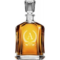 Custom Engraved Personalised Decanter, 70 Cl / 23.75 Oz, Perfect Gift for Groomsman, Weddings, Father's Day, Anniversaries & More