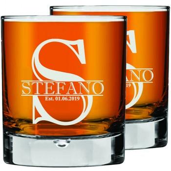 2 gab. Personalizēta gravēta viskija glāze, Low Ball Glass, burbona glāze 270ml