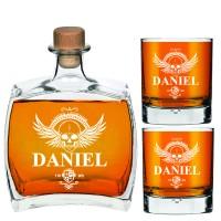 750 ml personalizēts viskija dekantera komplekts - dāvanas viņam, līgavainim, dāvanas ar iegravētu dekantera komplektu un 2 viskija glāzēm.