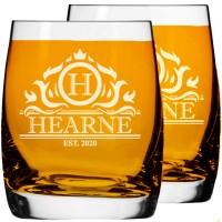 2 gab. Personalizēts gravēts viskija vai ruma glāze ar zemo lodi, 250 ml izmērs