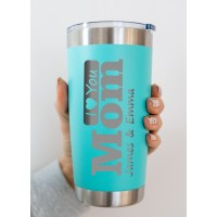 Mother's Day Gift or Father's Day Gift Personalised Travel Mug Stainless Steel 550ml Laser Engraved Coffee Cup for Hot or Cold Drinks - Teal