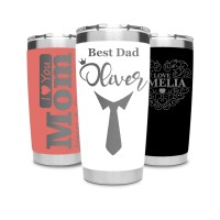 Mother's Day Gift or Father's Day Gift Personalised Travel Mug Stainless Steel 550ml Laser Engraved Coffee Cup for Hot or Cold Drinks - White