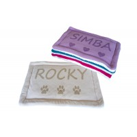 Personalised Dog Cat Bed Cushion, Add Pet Name, Size 60x40 CM (Beige)