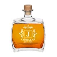 Moderns personalizēts viskija dekanters, personalizēta monogramma ar vārdu un gadu, 750ml izmērs