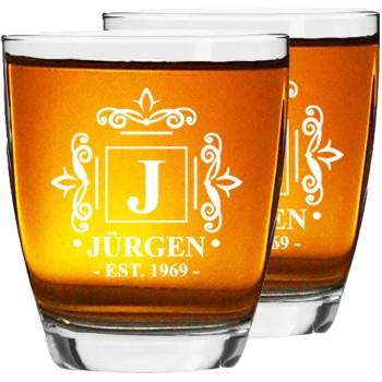80. dzimšanas dienas dāvana, Personalizētu viskija glāžu komplekts 2 glāžu komplekts, izmērs 390ml
