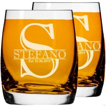 2 gab. Personalizēta gravēta viskija glāze, Low Ball Glass, burbona glāze 250ml