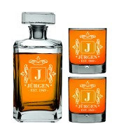 Dekantera komplekts ar viskija glāzēm Personalizēts viskija komplekts 700ml ar 2 gab. glāzēm 270ml