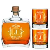 Dāvana draugam - personalizēts viskija dekantera komplekts 750 ml - dāvanas viņam, līgavaiņa dāvanas ar 2 viskija glāzēm.