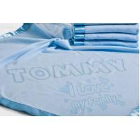 "Bērnu sega personalizēta ""I LOVE MY FAMILY"", 75x75cm, zila"