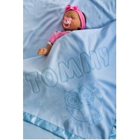 Baby Blanket Personalised for Boys and Girls, Newborn Baby Gift, Size 75x75cm (Owl/Blue)