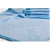 Baby Blanket for Boy Personalised wit Name and Rabbit Motif,75x75cm,Blue