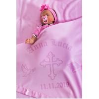 Bērna sega Kristībām Personalizēta ar Krustu 75x75cm Rozā krāsā