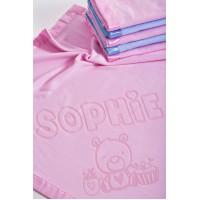 Bērnu segas ar personalizētu lāča motīvu un vārdu,75x75cm,rozā krāsā