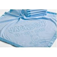 Bērnu sega gultiņai, bērna dzimšanas dati iegravēti, Lāča motīvs, 75x75cm, zila