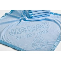 Baby Boy Girl Soft Blanket with Frog Motif add Name and Date of Birth,75x75cm,Blue