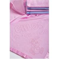 Baby Girl Blanket Fleece Personalised with Rabbit Motif,75x75cm,Pink