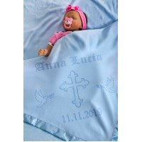 Baptism Blanket Personalised Baby Baptism Christening Dedication with Cross 75x75cm Blue