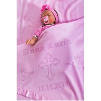 Baptism Blanket Personalised Baby Baptism Christening Dedication with Cross 75x75cm Pink