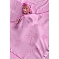 Kristību bērnu sega, personalizēta meitenēm vai zēniem ar vārdu un datumu, Krustu un Bībeli, 75x75cm rozā krāsā