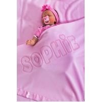 Liela personalizētas bērnu segas meitenēm ar iegravētu vārdu, izmērs 75x75cm, satīna maliņa, rozā krāsā