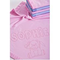 Jaundzimušo zīdaiņu sega ratiņiem ar vārdu un lāča motīvu, 75x75cm, rozā krāsā