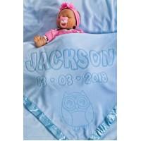 Personalizēta bērnu sega jaundzimušajam dāvana, izmērs 75x75cm collas, satīna maliņa