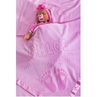 Personalizēta bērnu sega bērnu gultiņai vai ratiņiem ar vārdu un pēdu dizainu, izmērs 75x75cm, satīna maliņa