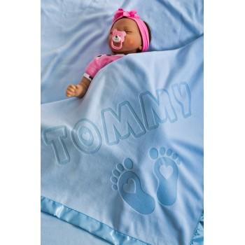 Personalizēta zīdaiņu sega ar vārdu un pēdu dizainu, dāvana meitenēm, zēniem, vecākiem, izmērs 75x75cm, satīna apdare