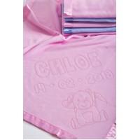 Mīksta un silta sega jaundzimušajam ar dzimšanas datiem un lāča motīvu, 75x75cm, rozā krāsā