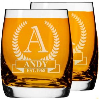 2 gab. Gravēta personalizēta viskija glāze, Viskija glāzes izmērs 250ml