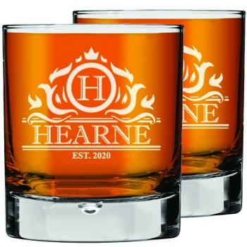 2 gab. Personalizētas gravētas viskija glāzes, glāze Rocks Glass, skotu glāze, glāze Low Ball Glass 270ml